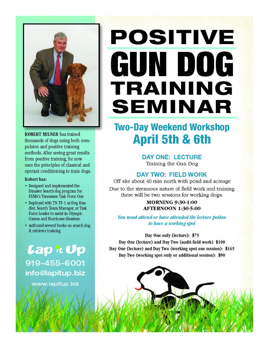 Positive Gundog Training Seminar Durham, NC - Apr 5,6